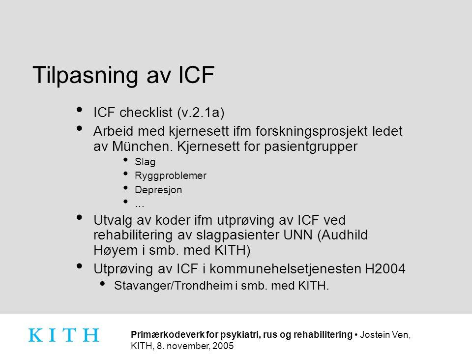 Tilpasning av ICF ICF checklist (v.2.1a)