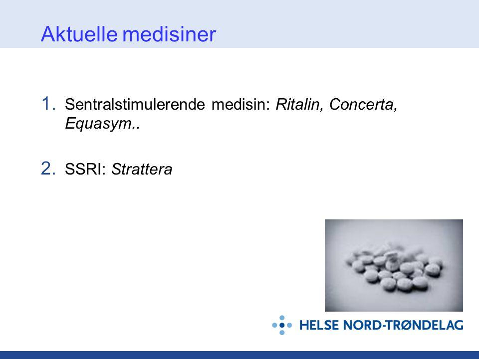 Aktuelle medisiner Sentralstimulerende medisin: Ritalin, Concerta, Equasym.. SSRI: Strattera