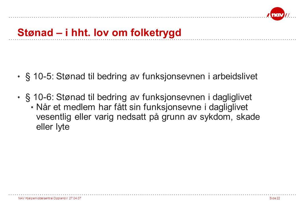 Stønad – i hht. lov om folketrygd