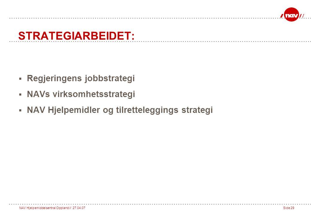 STRATEGIARBEIDET: Regjeringens jobbstrategi NAVs virksomhetsstrategi