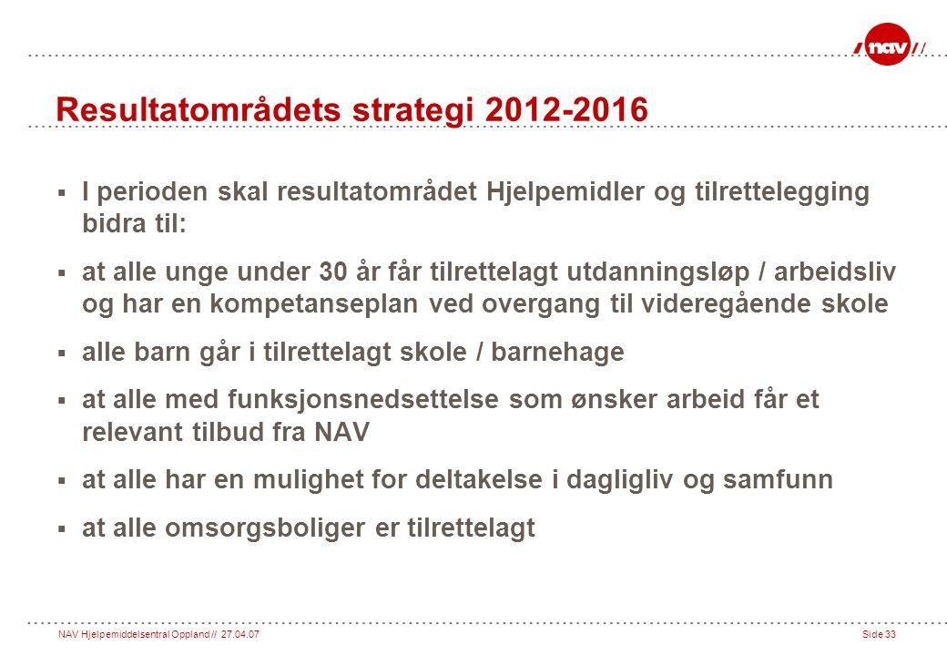 Resultatområdets strategi 2012-2016