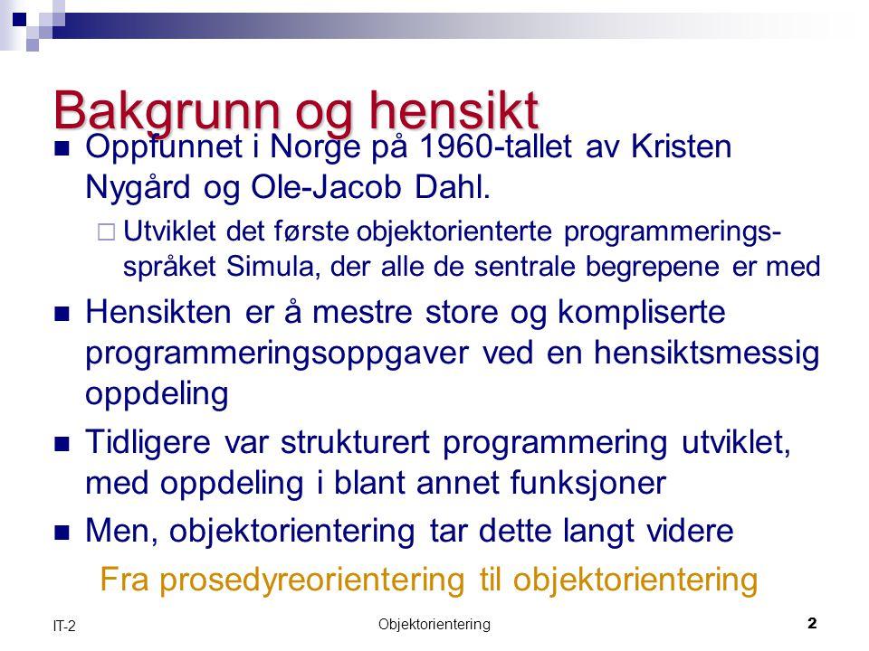 Bakgrunn og hensikt Oppfunnet i Norge på 1960-tallet av Kristen Nygård og Ole-Jacob Dahl.