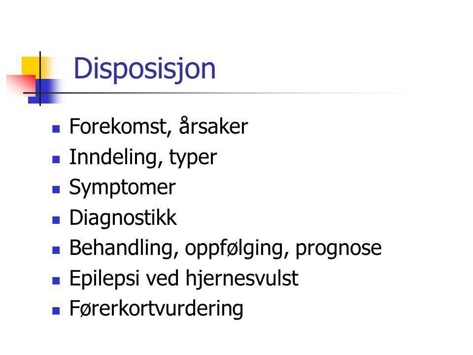 Disposisjon Forekomst, årsaker Inndeling, typer Symptomer Diagnostikk