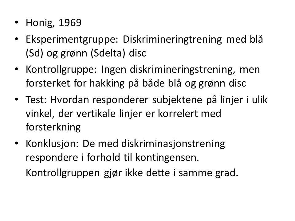 Honig, 1969 Eksperimentgruppe: Diskrimineringtrening med blå (Sd) og grønn (Sdelta) disc.