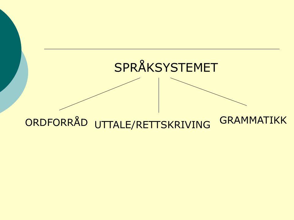 SPRÅKSYSTEMET GRAMMATIKK ORDFORRÅD UTTALE/RETTSKRIVING