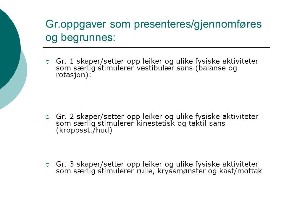 Gr.oppgaver som presenteres/gjennomføres og begrunnes: