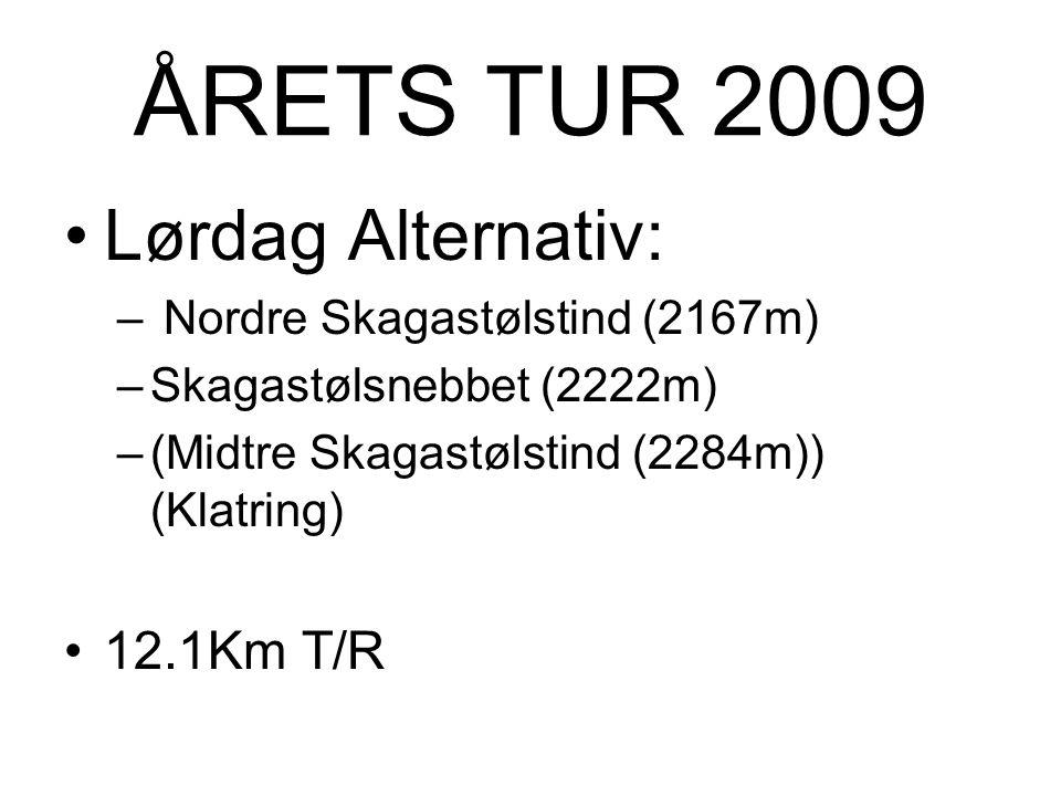 ÅRETS TUR 2009 Lørdag Alternativ: 12.1Km T/R