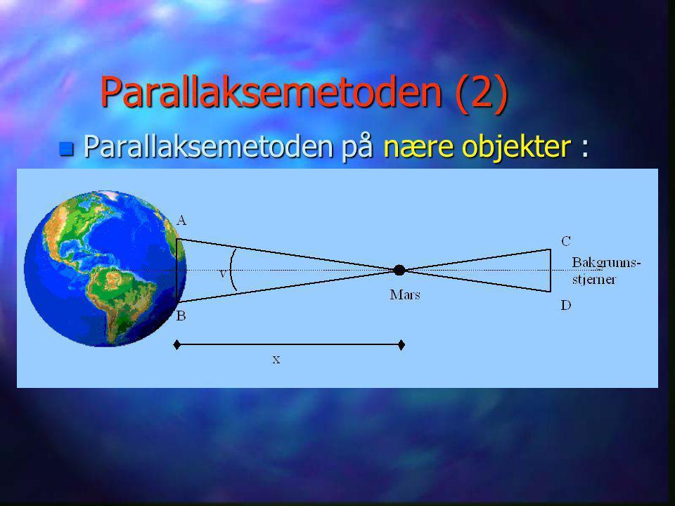 Parallaksemetoden (2) Parallaksemetoden på nære objekter :