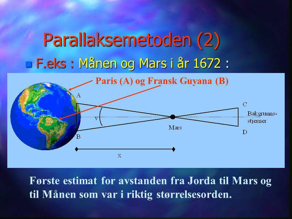 Parallaksemetoden (2) F.eks : Månen og Mars i år 1672 :