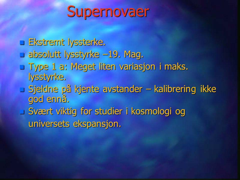 Supernovaer Ekstremt lyssterke. absolutt lysstyrke –19. Mag.