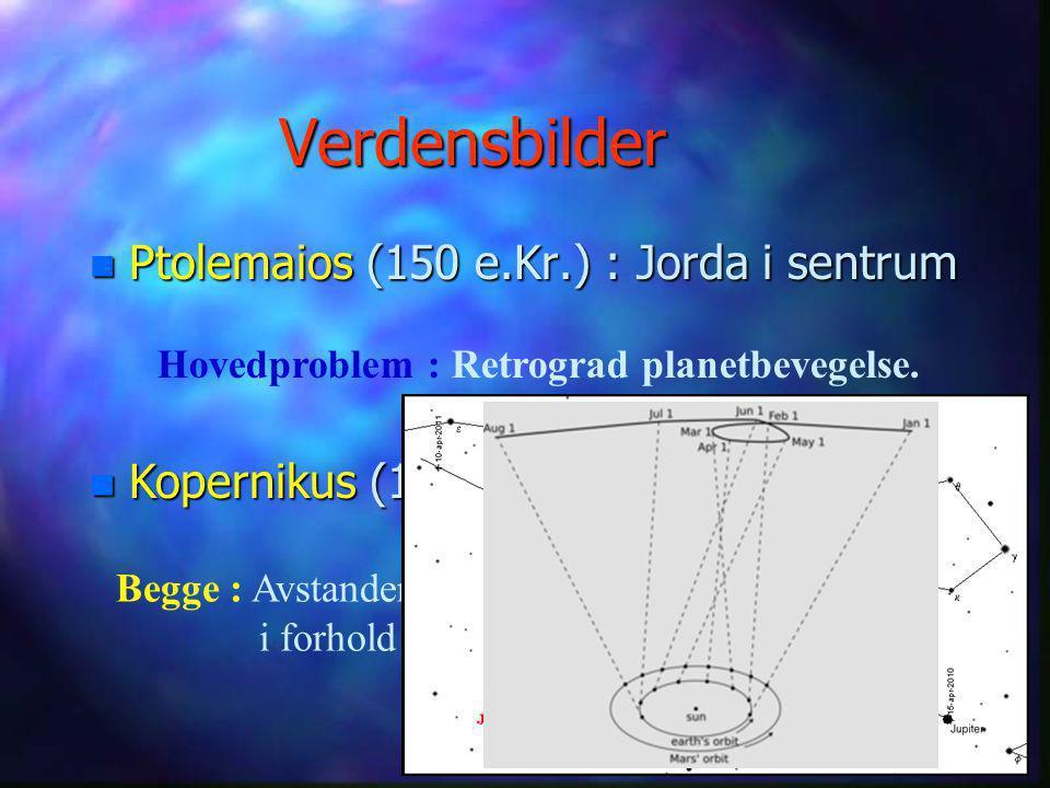 Verdensbilder Ptolemaios (150 e.Kr.) : Jorda i sentrum