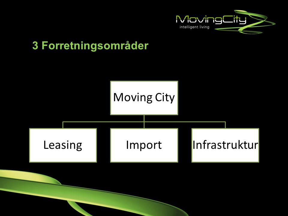 3 Forretningsområder Moving City. Leasing. Import. Infrastruktur.
