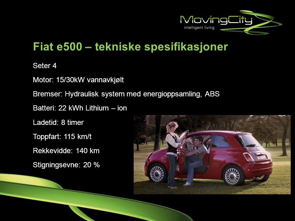 Fiat e500 – tekniske spesifikasjoner