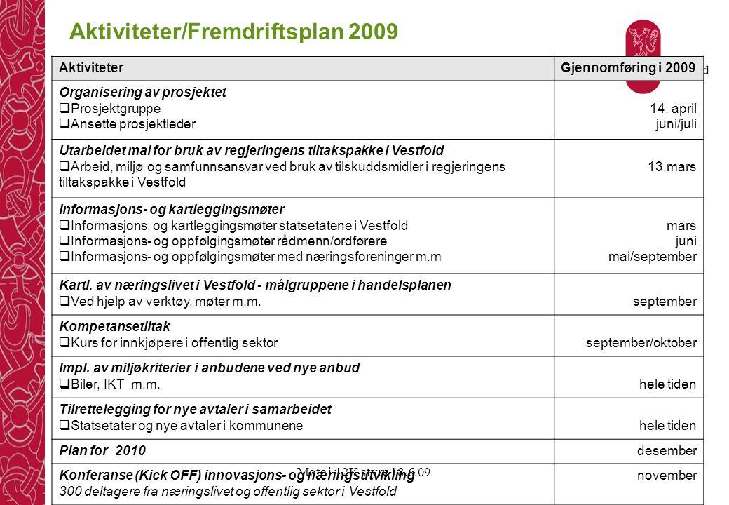 Aktiviteter/Fremdriftsplan 2009