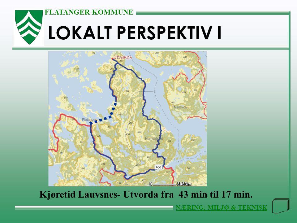 LOKALT PERSPEKTIV I Kjøretid Lauvsnes- Utvorda fra 43 min til 17 min.
