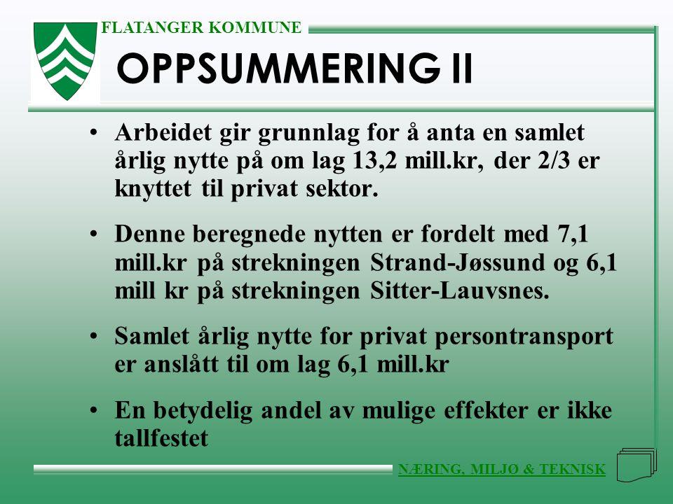 OPPSUMMERING II Arbeidet gir grunnlag for å anta en samlet årlig nytte på om lag 13,2 mill.kr, der 2/3 er knyttet til privat sektor.