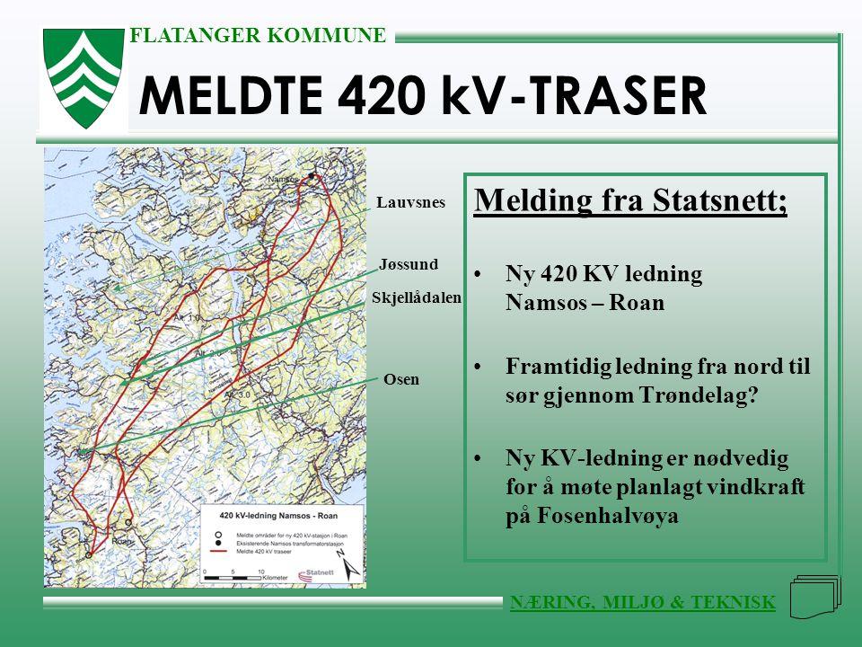 MELDTE 420 kV-TRASER Melding fra Statsnett;