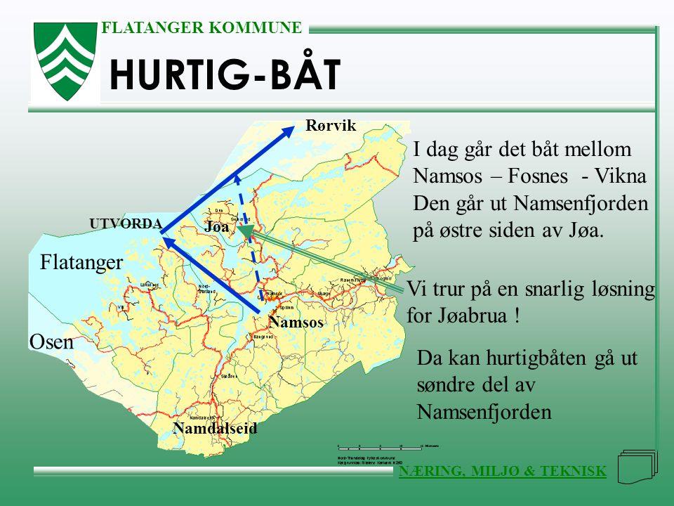 HURTIG-BÅT I dag går det båt mellom Namsos – Fosnes - Vikna