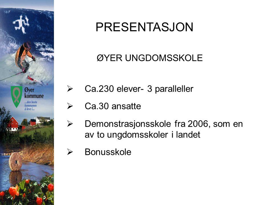 PRESENTASJON ØYER UNGDOMSSKOLE Ca.230 elever- 3 paralleller