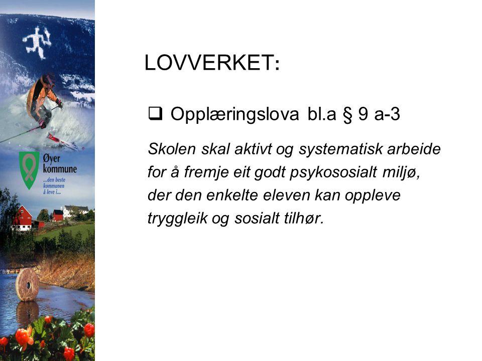 LOVVERKET: Opplæringslova bl.a § 9 a-3