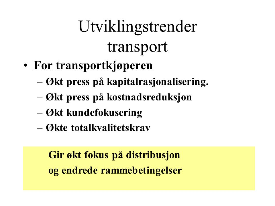 Utviklingstrender transport