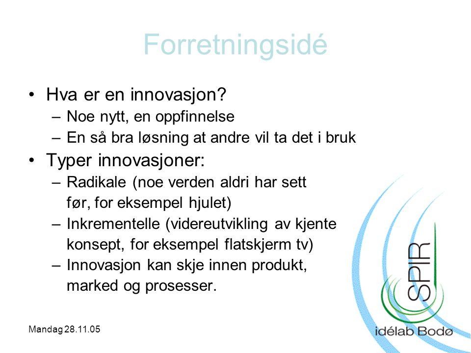Forretningsidé Hva er en innovasjon Typer innovasjoner: