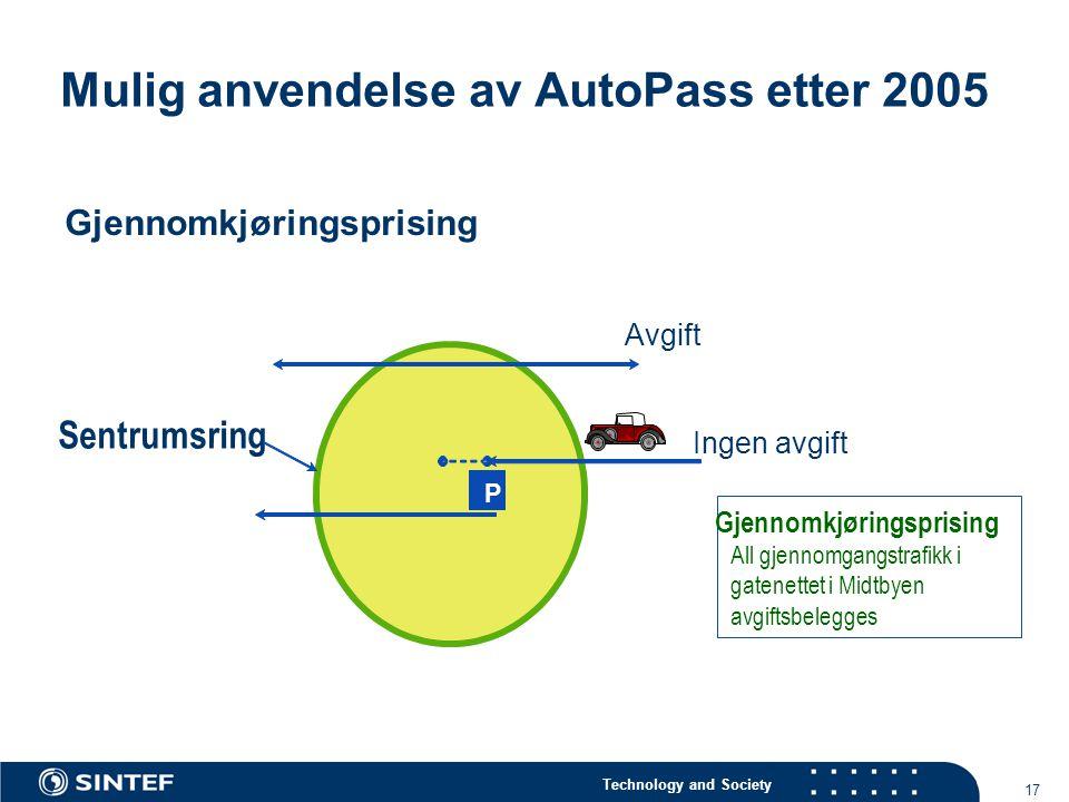 Mulig anvendelse av AutoPass etter 2005