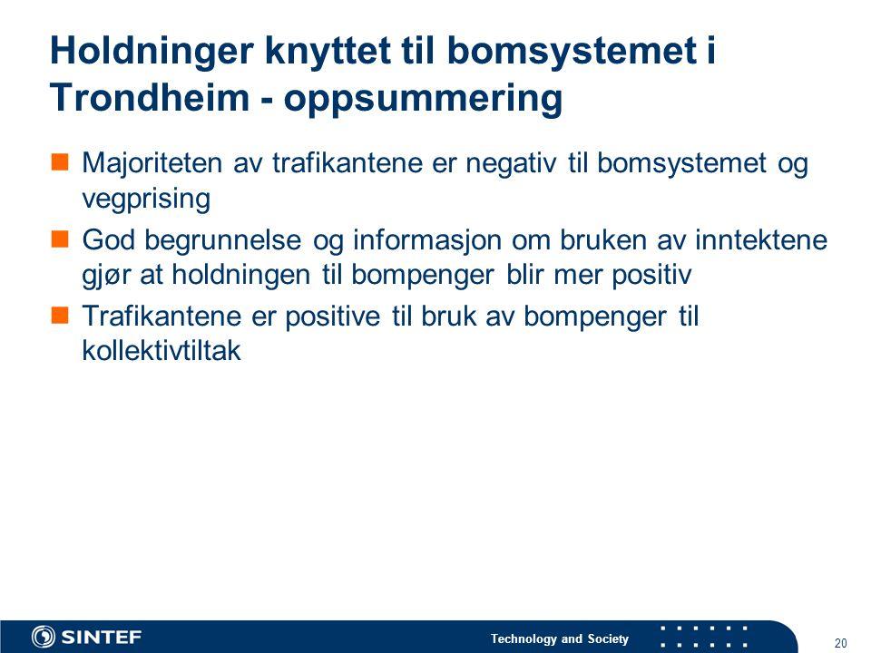 Holdninger knyttet til bomsystemet i Trondheim - oppsummering