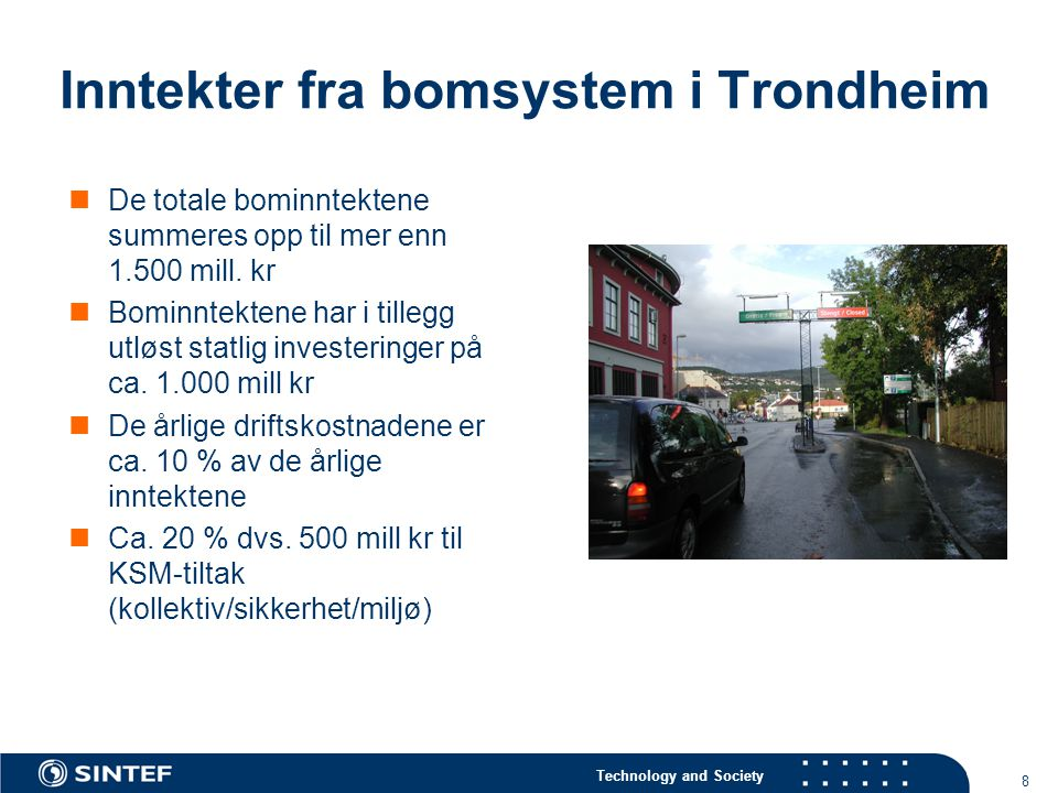Inntekter fra bomsystem i Trondheim