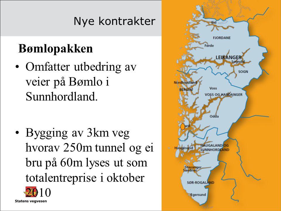 Omfatter utbedring av veier på Bømlo i Sunnhordland.