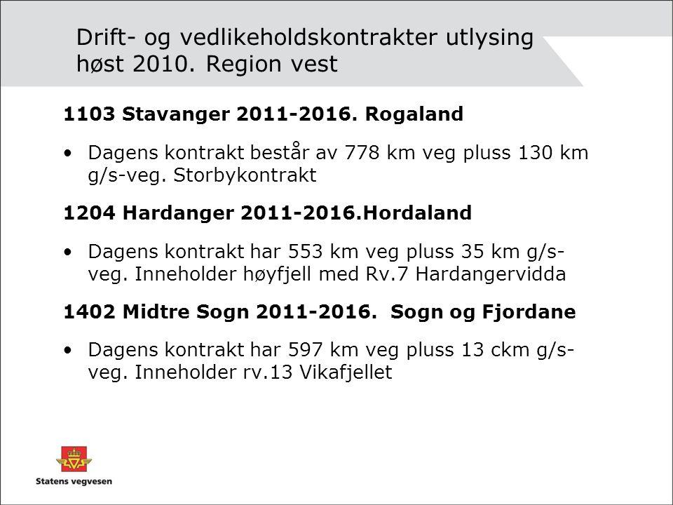 Drift- og vedlikeholdskontrakter utlysing høst 2010. Region vest