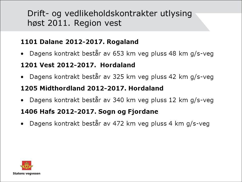 Drift- og vedlikeholdskontrakter utlysing høst 2011. Region vest
