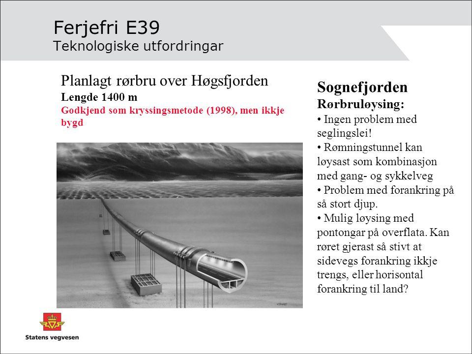 Ferjefri E39 Teknologiske utfordringar
