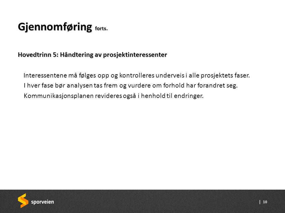 Gjennomføring forts. Hovedtrinn 5: Håndtering av prosjektinteressenter
