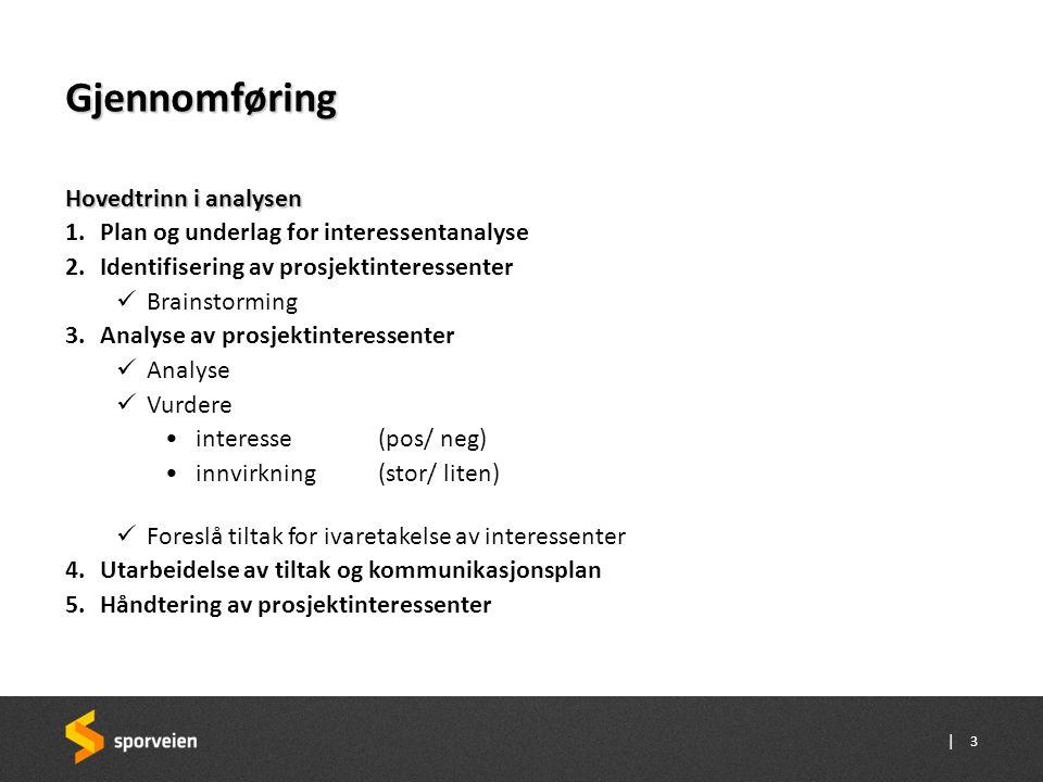 Gjennomføring Hovedtrinn i analysen