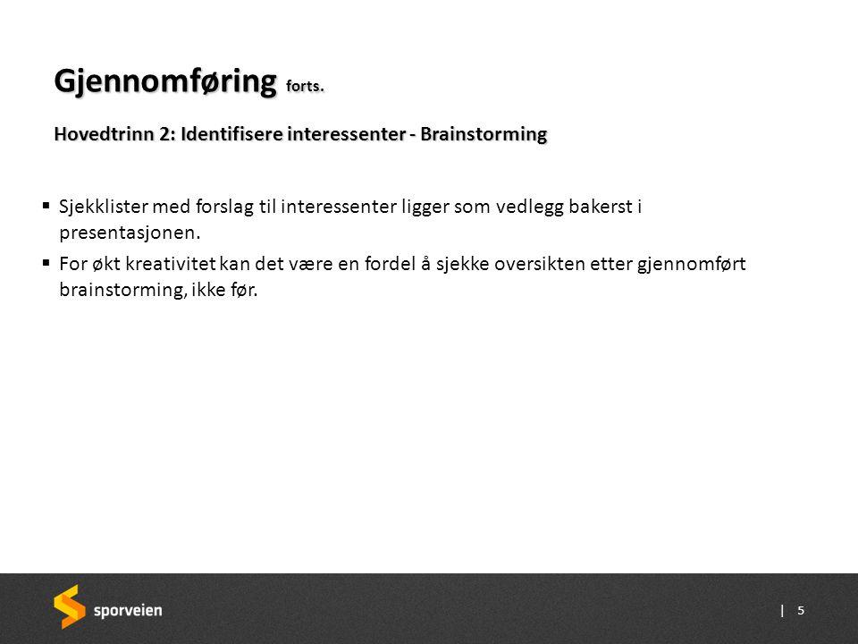 Gjennomføring forts. Hovedtrinn 2: Identifisere interessenter - Brainstorming.