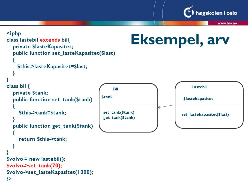 Eksempel, arv < php class lastebil extends bil{