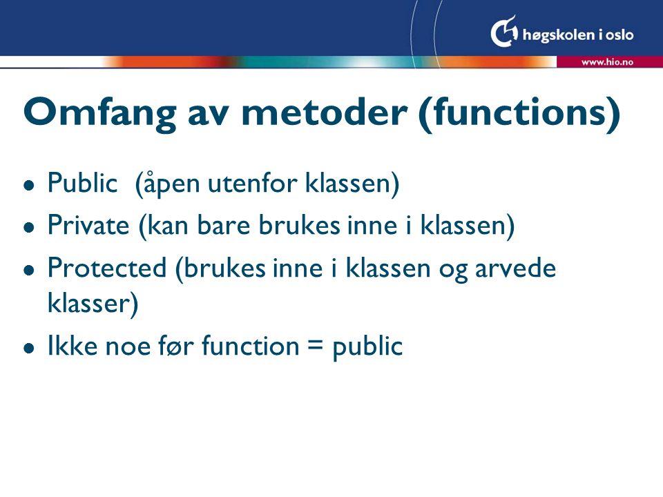 Omfang av metoder (functions)