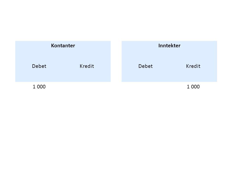Kontanter Debet Kredit 1 000 Inntekter Debet Kredit 1 000