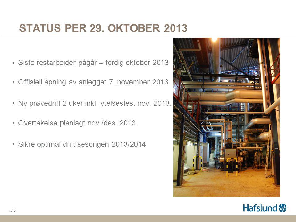 STATUS PER 29. OKTOBER 2013 Siste restarbeider pågår – ferdig oktober 2013. Offisiell åpning av anlegget 7. november 2013.