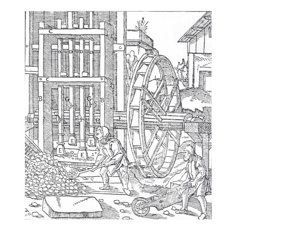Fra middelalderen: Knusemaskin til gruvedrift, men prinsippet også brukt til tresking av korn, ris, samt stamping av tøy.