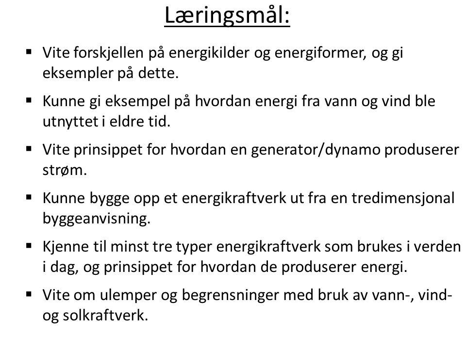 Læringsmål: Vite forskjellen på energikilder og energiformer, og gi eksempler på dette.