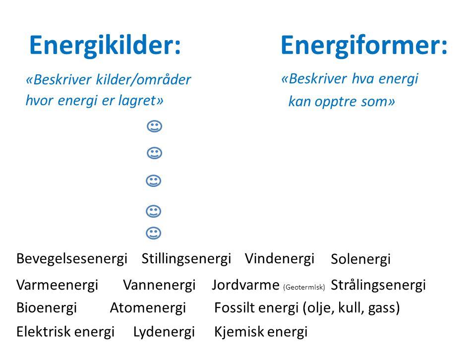 Energikilder: Energiformer: