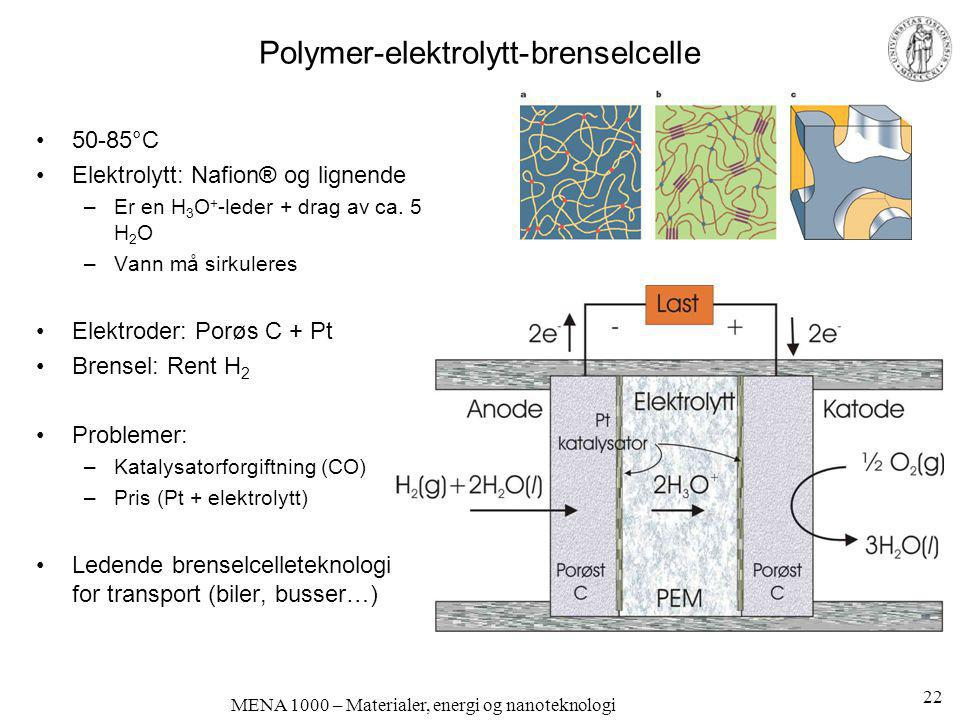 Polymer-elektrolytt-brenselcelle