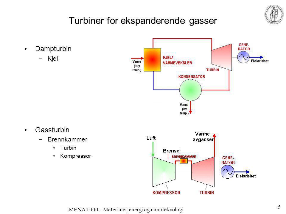 Turbiner for ekspanderende gasser