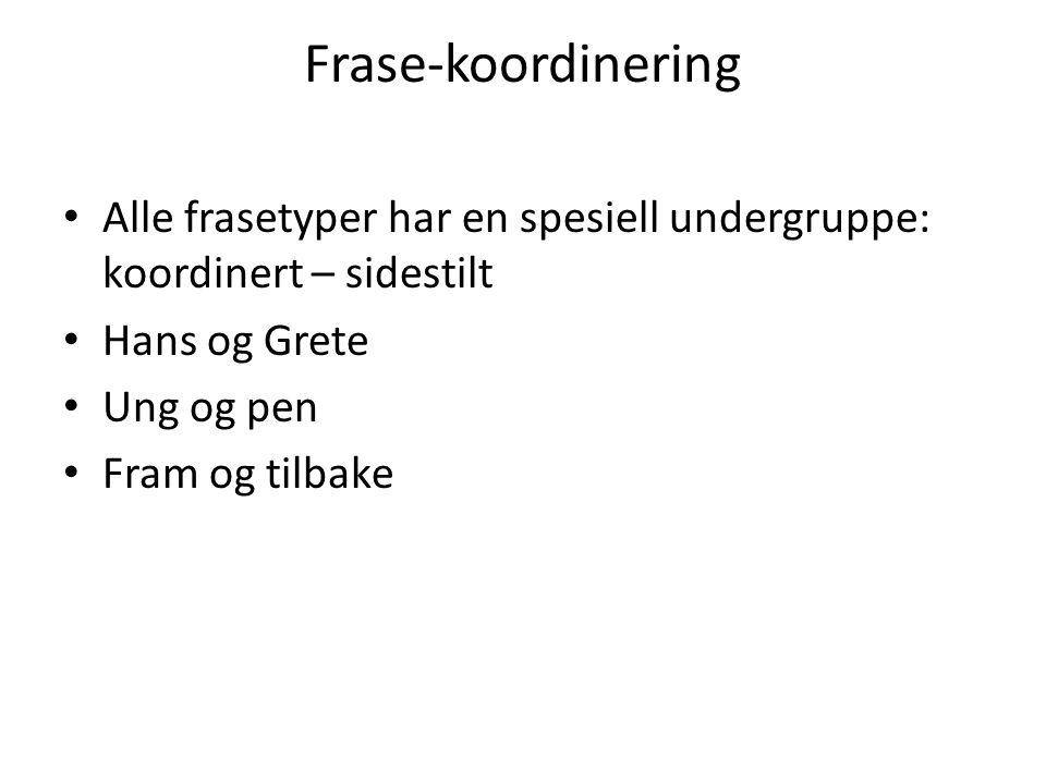 Frase-koordinering Alle frasetyper har en spesiell undergruppe: koordinert – sidestilt. Hans og Grete.