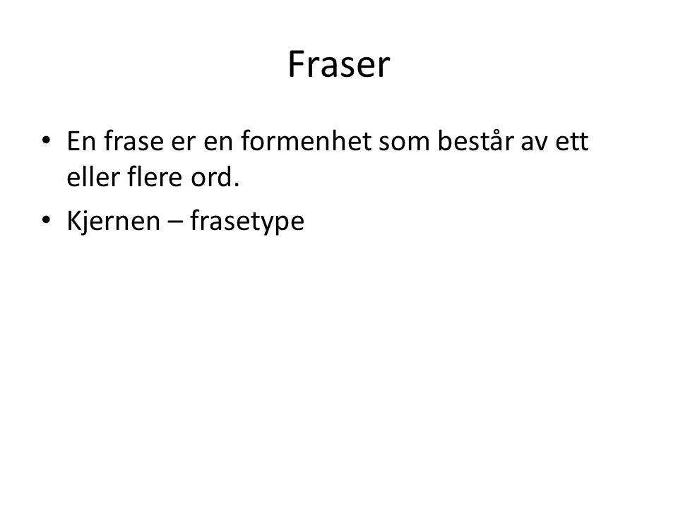 Fraser En frase er en formenhet som består av ett eller flere ord.