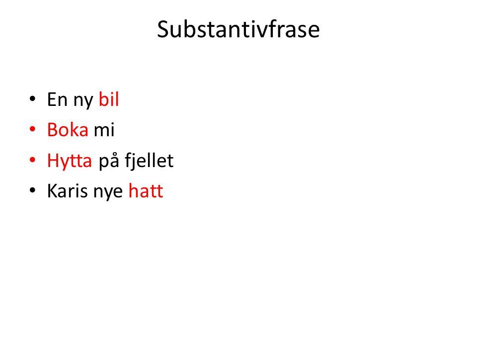 Substantivfrase En ny bil Boka mi Hytta på fjellet Karis nye hatt