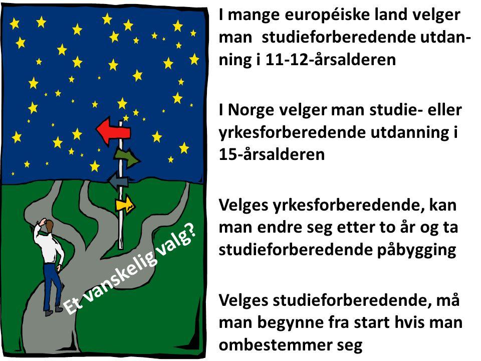 I mange européiske land velger man studieforberedende utdan- ning i 11-12-årsalderen