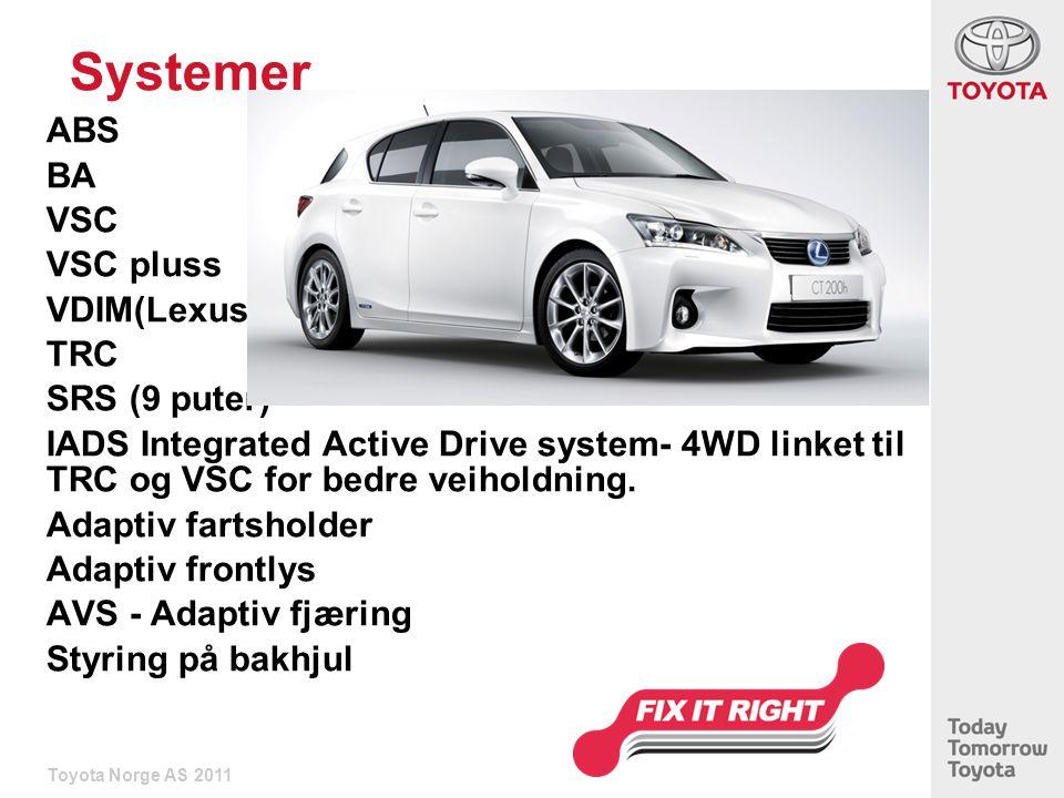 Systemer ABS BA VSC VSC pluss VDIM(Lexus) TRC SRS (9 puter)